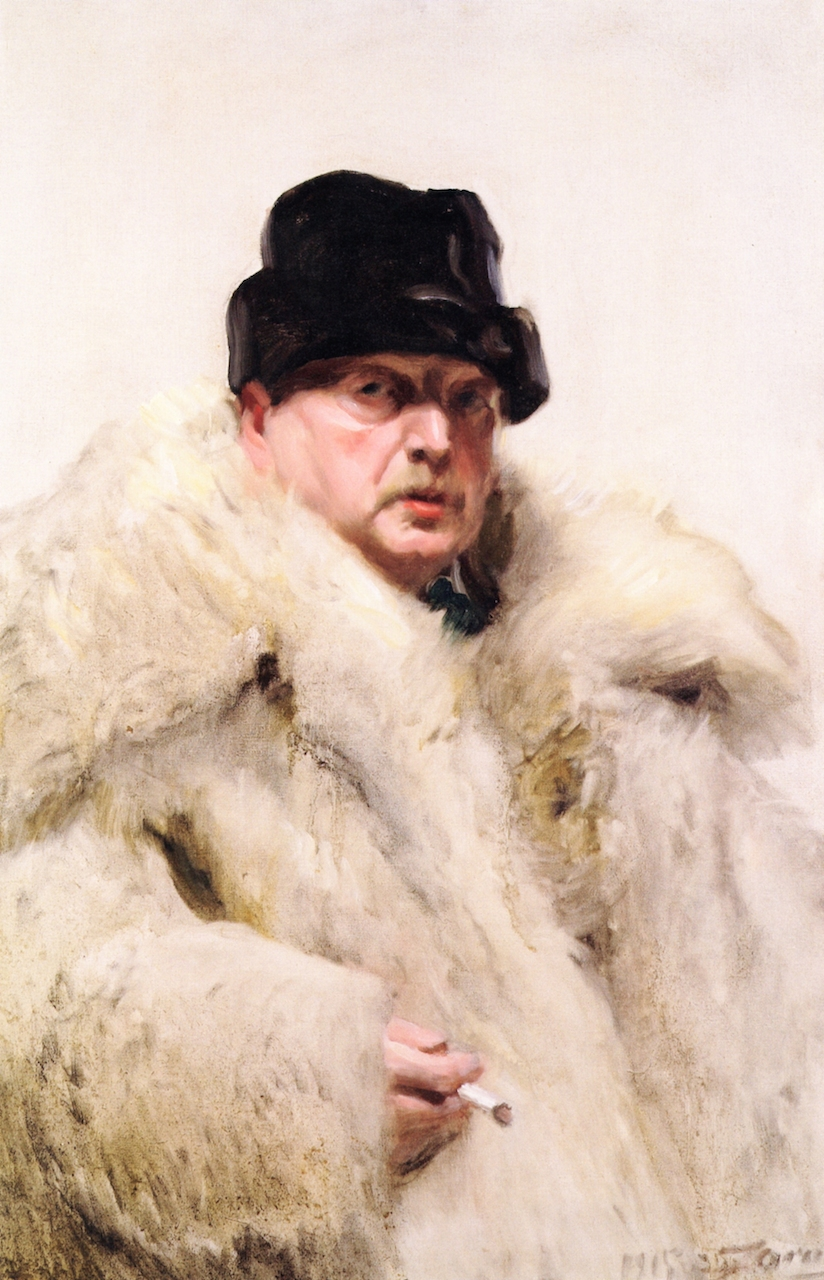 Self Portrait in a Wolf Fur Coat (1915) by Anders Zorn.